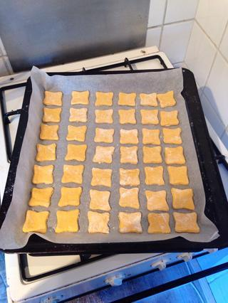 Lay your treats on a baking tray with baking paper. Bake for about 20-25 minutes. If you made them thicker, bake a little longer. Just don't let them turn black :-)