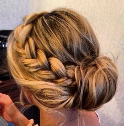 Just a normal very thick braid down the side of your head leading up to a bun  Optional: you could pull a few thin strands of hair out around the side Of your face to make the look a slight bit messy  Or you could leave put your bangs, whatever you like 😉