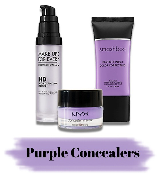 The purple concealers correct yellow undertones that individuals may want to get rid of or to tone down