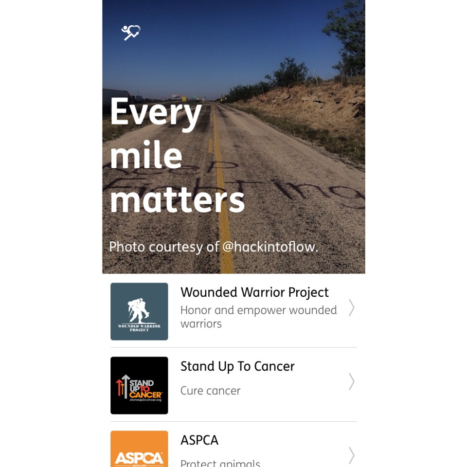 Basicly, for every kilometer you do, a sponsor donates a certain amount of money.
