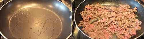 In a pan cook the ground beef, and season with salt and pepper. Drain.