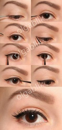 here is a simple wing, maybe if your just starting winded eyeliner this would be good to do