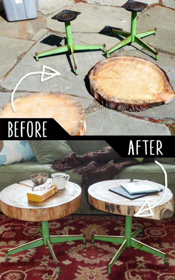 Accent Tables Using Rough Cut Logs And Old Metal Chair Legs    http://www.diynetwork.com/how-to/make-and-decorate/upcycling/how-to-make-a-table-using-a-log-and-old-chair-legs