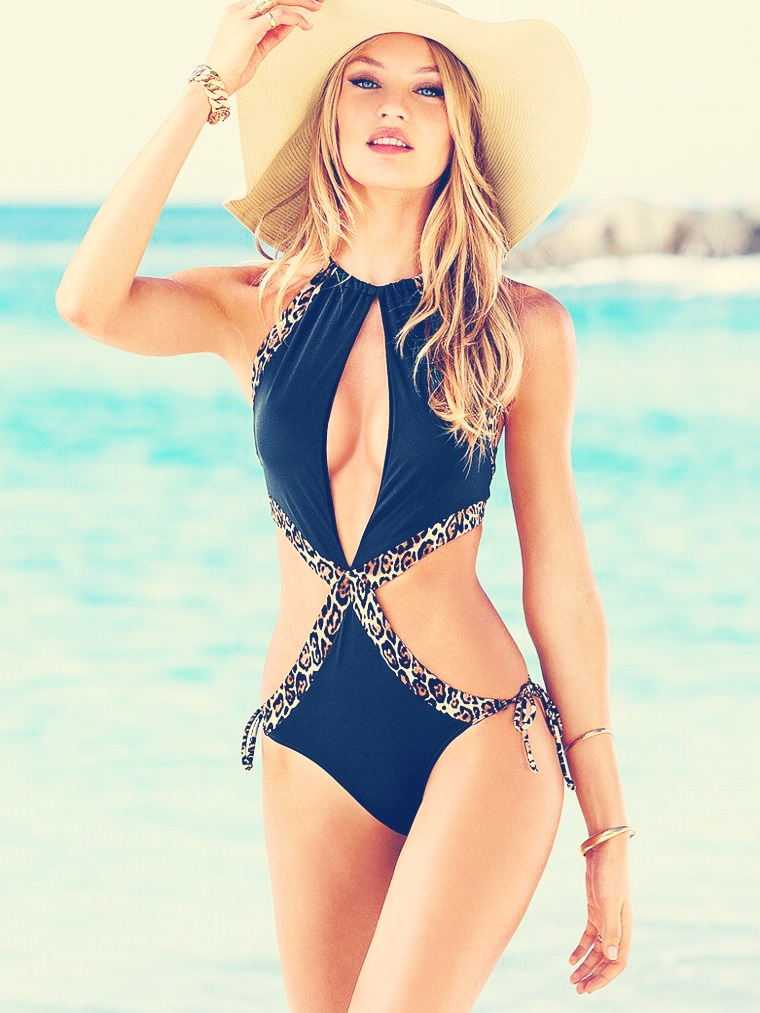 Sexy one piece black + animal print = fabulous