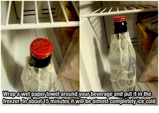 Put a wet paper towel around a your drink and put it in the freezer for 15 minutes. Your drink will be ice cold.
