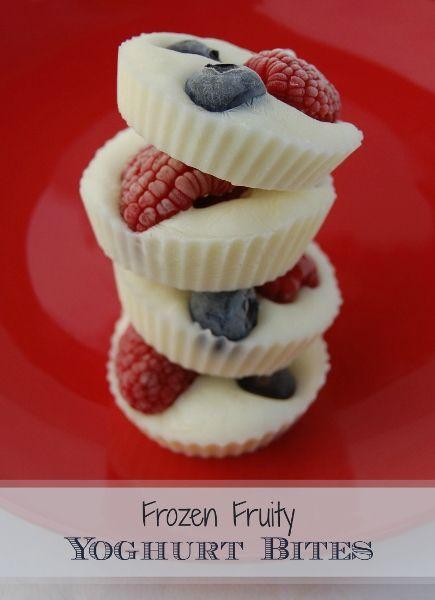 Frozen yogurt berry bites. just put yogurt in a cupcake pan and put your favorite fruit in it and freeze for a few minuets then enjoy every bite of this sweet healthy treat