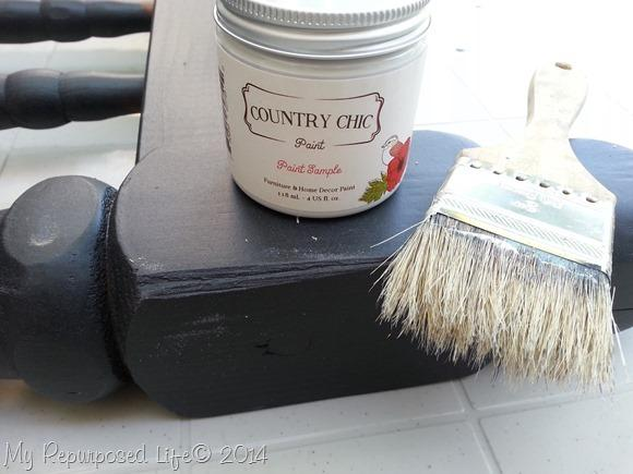 I used this paint sample from Country Chic to paint a top coat with a cheap chip brush.