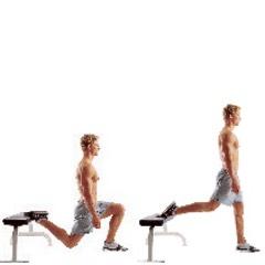 20 (each leg) Bulgarian split squat