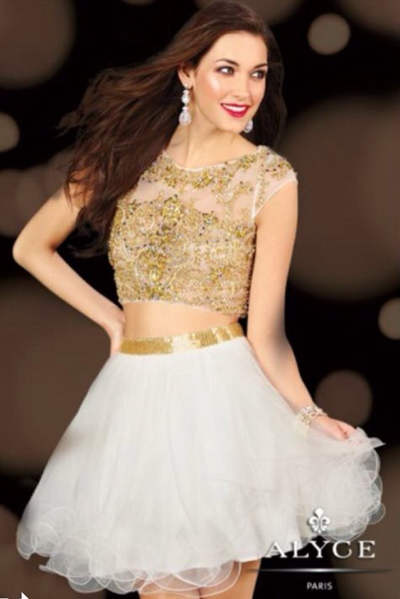 Gold and white two piece dress
