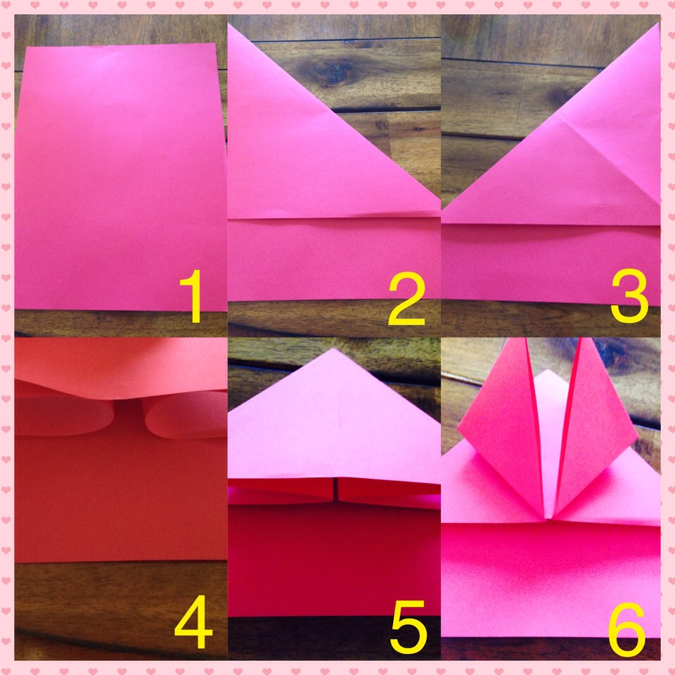 1. Blank sheet 2&3. Fold from corner to corner. 4&5.Fold creating a triangle. 6. Fold the corners of the triangle (up side).