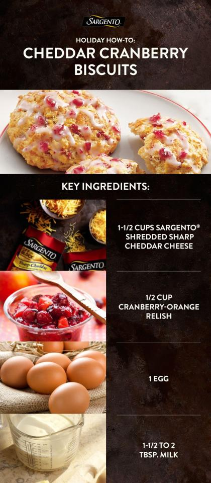 Holiday how-to: Put an inventive twist on seasonal cranberries. Recipe takes about 30 minutes. Step 1: Combine biscuit mix, cheese, sugar and cloves in large bowl. Combine 1/2 cup relish, milk, butter and egg in separate bowl. Add liquid to dry ingredients. Step 2: Drop 1/3 cup of batter onto lightl