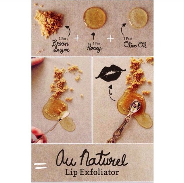 Need:brown sugar,olive oil,&honey (use as much you want, depends on how much u want) Directions: mix all together thoroughly and place on your lips and wear as Chapstick, don't wash off and enjoy😊💋