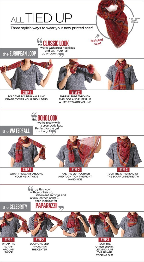 Any of these styles are perfect for spring with a light scarf.