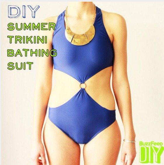 Trikini bikini. Sounds weird, yes, but it's surprisingly pretty! It's a funky design that totally alters the typical one-piece and turns it into a statement piece. Pop some old hoops and a powerful necklace on, do your hair in some braids and bam–you've got a stunning summer goddess look.
