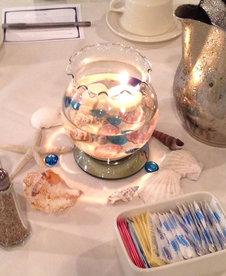 Put sand that you can buy at the store. Place seashells and marbles inside. Fill with water slowly. Too with floating candle. Use  a Mirror as a base