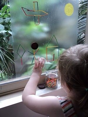 Great for kids. Just place contact paper on a glass surface.  Let kids use their imagine with tooth picks