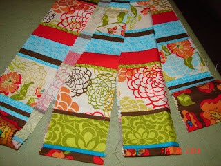 2.The fabric you buy is usually 40-44 inches long…so you will fold it in half long ways and cut along fold. Fold in half again and cut again.  (We are going to make our own bias tape…except its not going to be on the bias..) You should have 3-5 long strips. (40-44 inch long ones!)