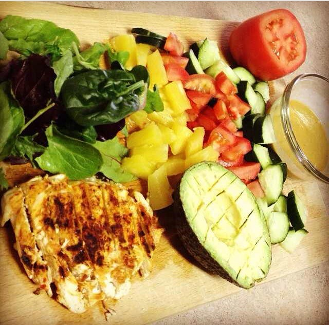 Greens spinach romaine just not iceberg - fresh veggies, grilled protein like chicken seasoned spicy if you like - little avocado
