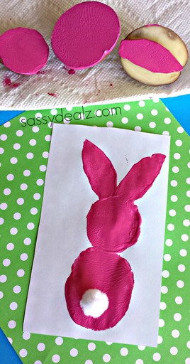 Step 3: Stick on a white pom pom to make the bunny's cute little fluffy tail and let dry! So cute and easy!