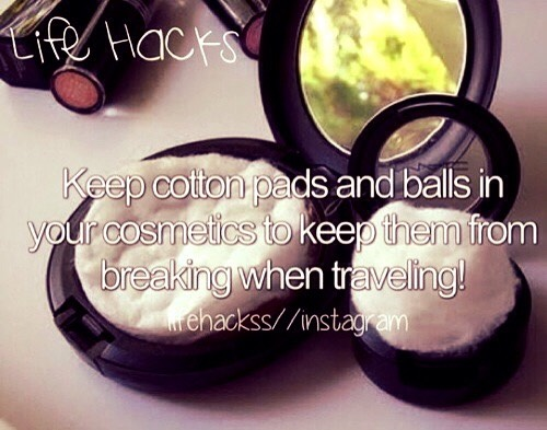 Blusher, bronzer, press powder etc always breaking in suitcases when travelling, well this is an easy way to prevent this, place a cotton pad on top of the blusher etc and place the top of cosmetics top and there you have it, no more having to buy more makeup because It has broken