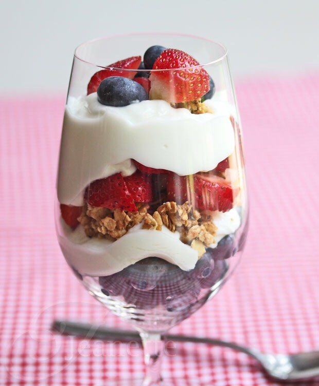 One of my favorite breakfasts is a simple parfait. Simply layer fruit, yogurt and granola in a cup, and I alwaysadd chia or flax seeds to pack an extra punch!