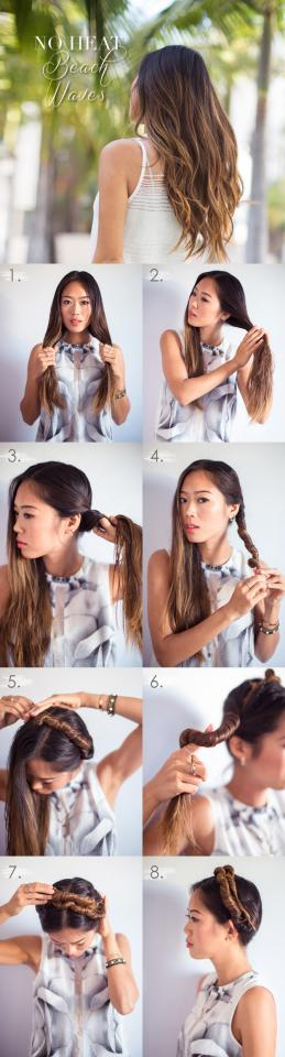 this twist tutorial looks adorable up, and gives you beachy waves when down.
