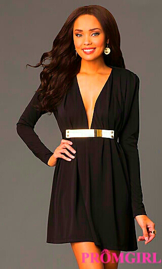 Classy Black Long Sleeve w/ Plunging V-Neck