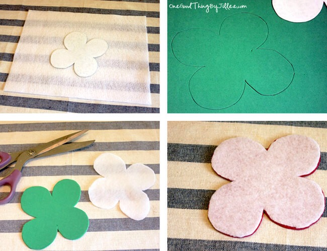 You can use any shape you like! Once you decide on a shape, do a freehand drawing or print out a picture from online, and cut it out. Then trace the shape onto the felt AND onto the craft foam.  Cut both out. Peel the paper off the peel & stick craft foam piece and press the felt to it.
