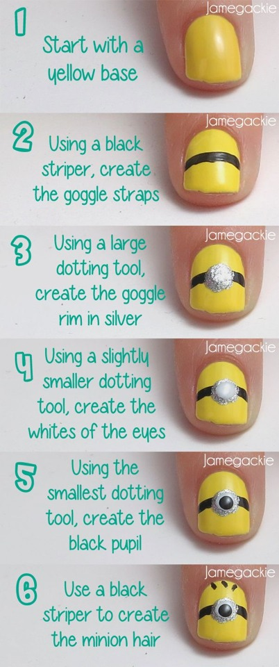 11. Despicable Me Minion Nails It tells you how to make a yellow polish into minion nails.