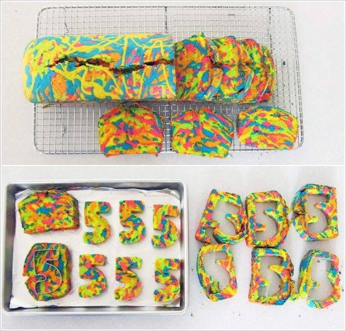 Once the rainbow cake is baked, let it cool and slice it up, as shown. From each slice cut whatever shape you would like and keep aside.