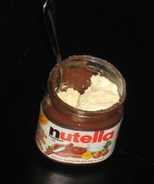 If you're almost done with your Nutella, finish it off with some ice cream! Makes a DELICIOUS snack for your sweet tooth and you don't have to waste the leftover Nutella :):)