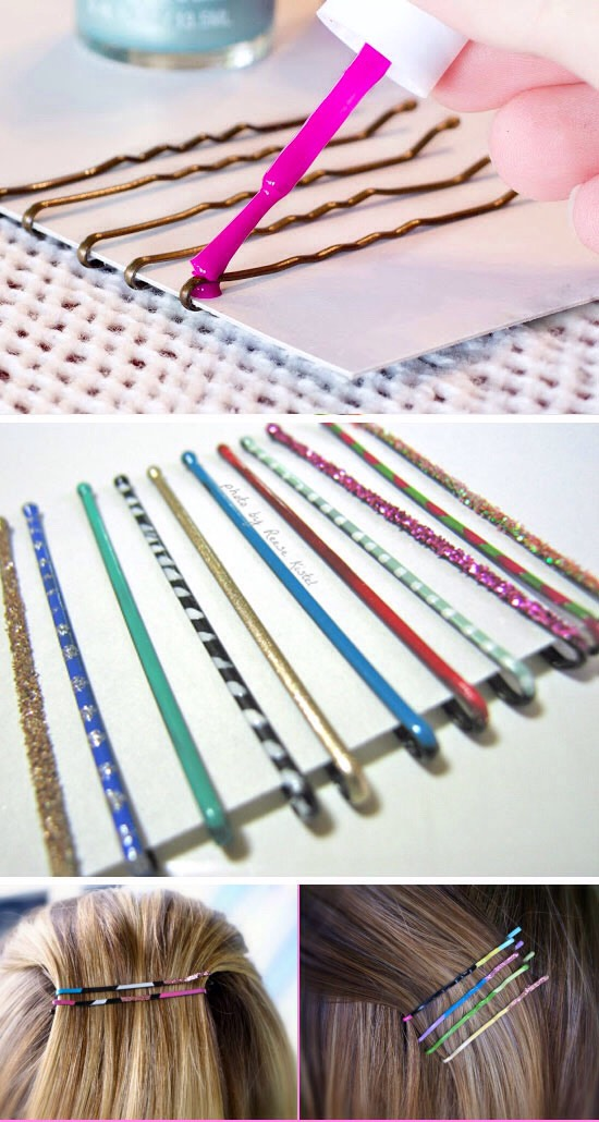 Tired of your Bonny pins all looking the same? Paint them with nail polish! Any design you want in any color nail polish you've got. Let them dry and show off your awesome bobby pin designs.