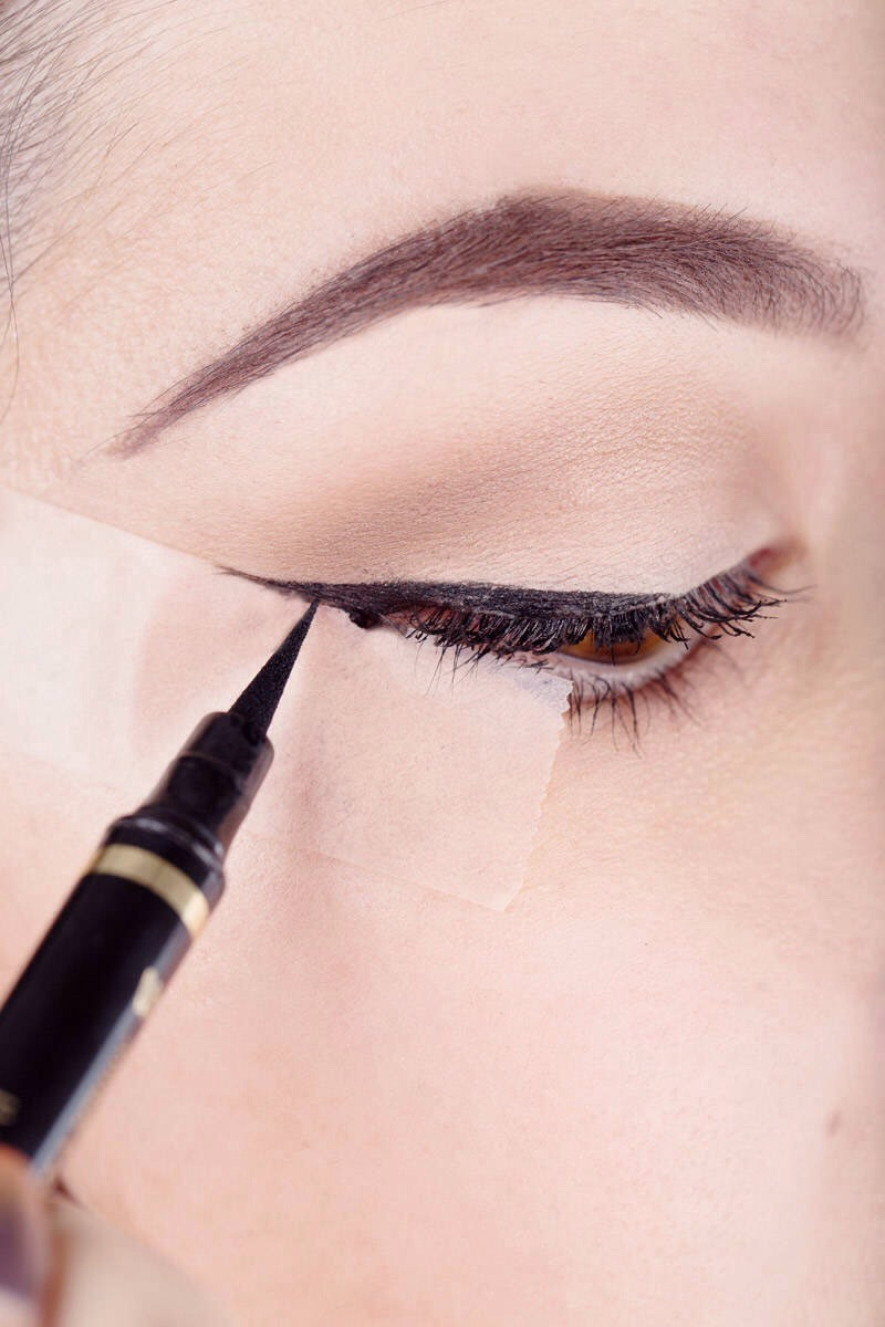 To get the perfect straight wing use a small piece of tape! Try to remove some stickiness before applying it to your face because it may take away your foundation that you have already applied! It may take practise to find what position to put the tape in to get the wing that suits you!