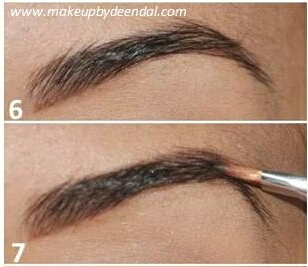 You will then want to draw a line at the top of your brow and slightly fill in any gaps, you do not want to fill in the whole brow.