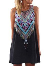 OURS Women's Summer Sleeveless Tribal Printed Casual Mini Beach Floral Tunic Dress