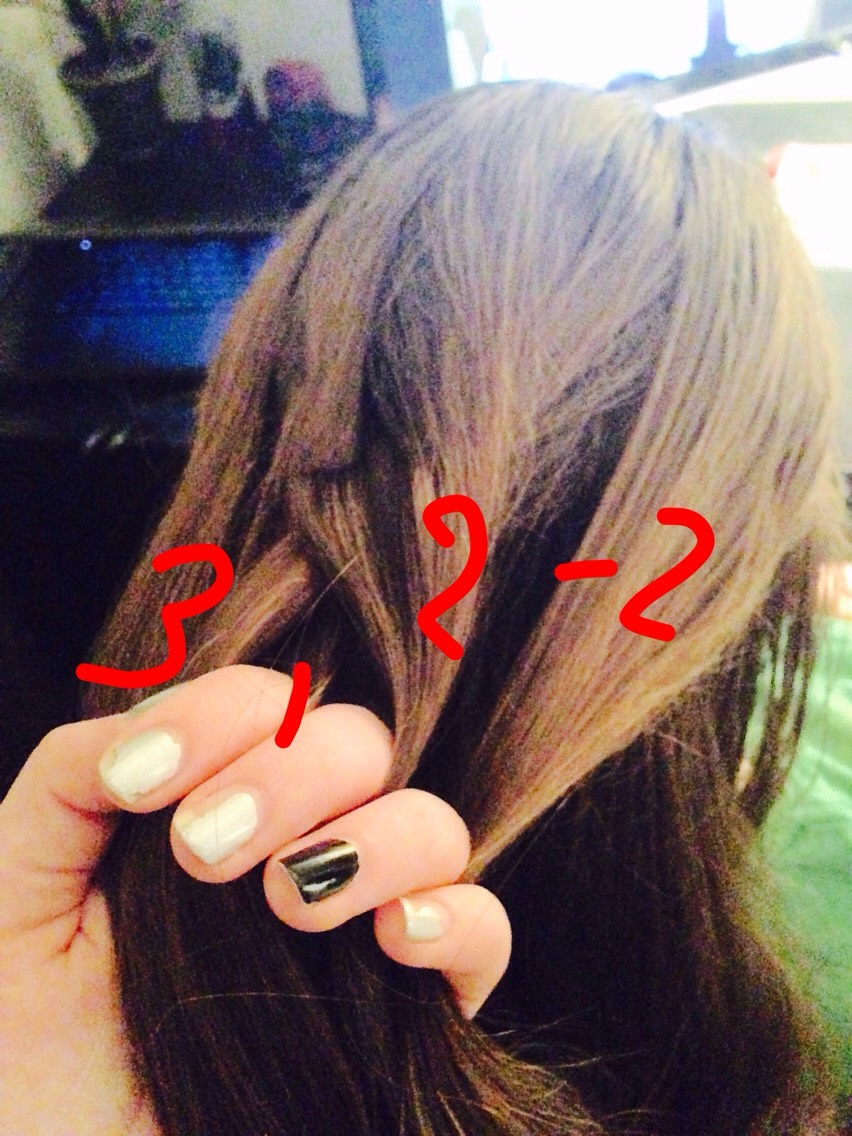 Now we are combining another piece of hair with section (#2) This is exactly what you did to section (#3) on the other side!!  Next page---👉