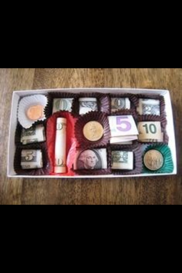 One of the cutest elegant ways to give money!! All woman love chocolate! And all woman sure love money!! 😜