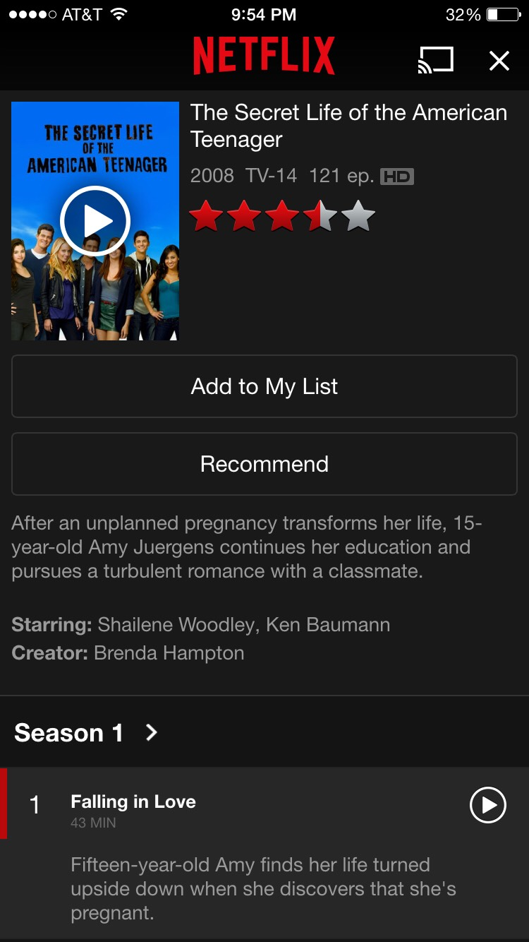 The Secret Life of an American Teenager personal rate: (unwatched)