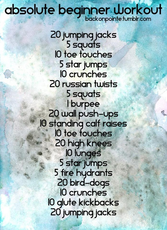 here is a nice beginner workout that will help you out. I did this and it seriously made me look great. you do 10 glute kickbacks and 20 jumping jacks after the bird-dogs. you do this everyday and you will have your figure back in no time