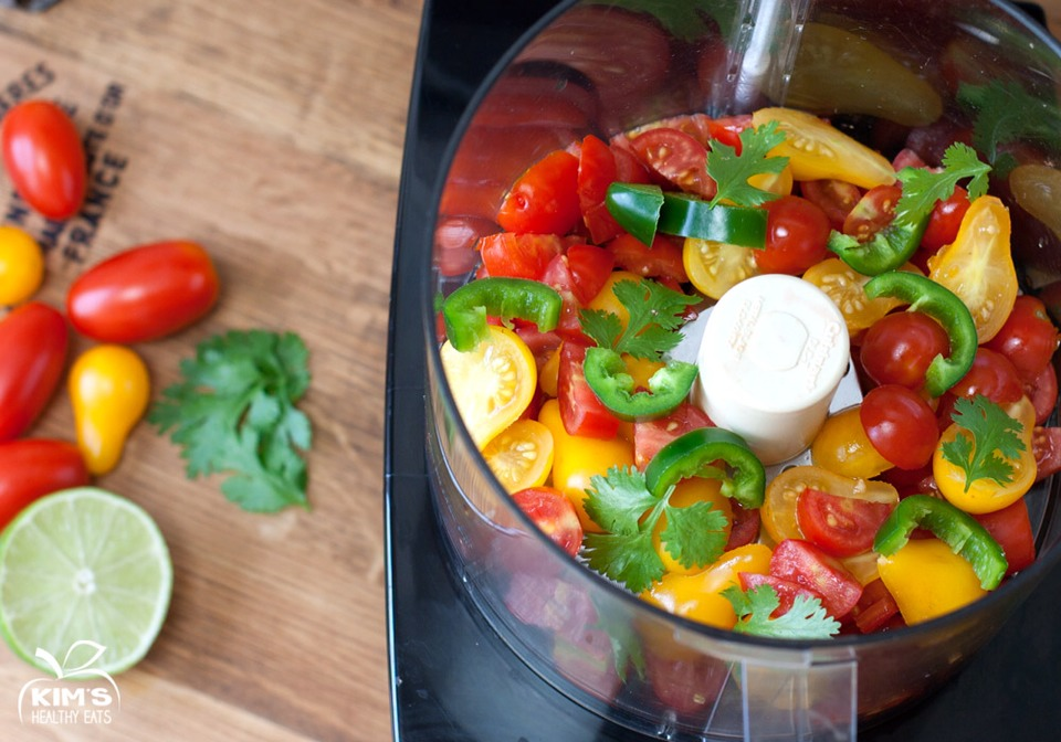 Well let me tell you this salsa is amazing and bursting with summer freshness.