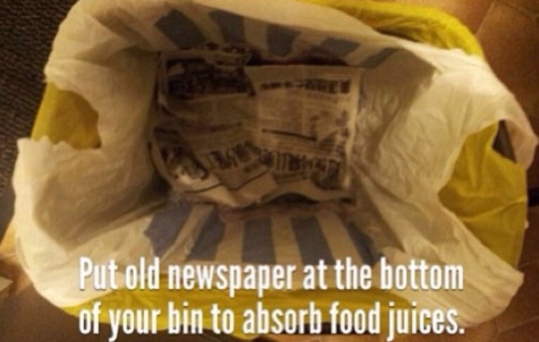 The paper will absorb the juice and also the smell
