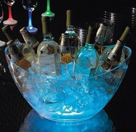 Put glow sticks under the ice .! Great for late night party's outside