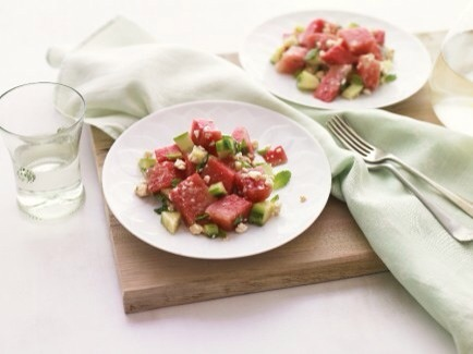 Watermelon Salad  Watermelon is full of water, making it a wonderful low-cal snack - this exciting salad is a perfectly refreshing snack!