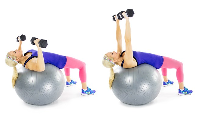 1 STABILITY BALL CHEST PRESS When compared to the floor press, the stability ball press allows your triceps and chest to move through a broader range of motion, which targets your pecs to an even greater degree.