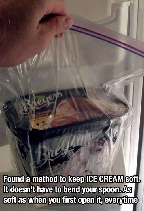 30. Put Ice Cream in a Zip Lock Bag to Keep It Soft