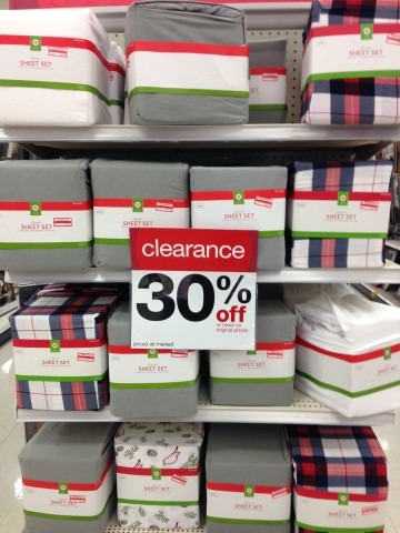 Linens  Sheets, tablecloths, and placements are being marked down right now. Some of my favorite year-round table cloths have been purchased on holiday clearance. Now is the time to buy flannel sheets if you want a warm set before winter really kicks in.