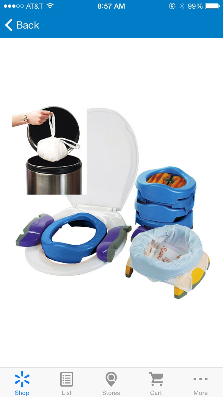 This is useful for young children. I use it for my 2 youngest (5 & 4).  http://www.walmart.com/ip/Kalencom-Potette-Plus-2-in-1-Portable-Potty-Trainer-Blue/13012706  But don't buy the bags, they are expensive, just use your grocery bags.