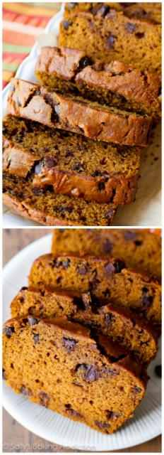 wooden spoon. There will be a few lumps. Do not overmix. Gently fold in the chocolate chips.  Pour the batter into the prepared loaf pan. Bake for 60-65 minutes, making sure to loosely cover the bread with aluminum foil halfway through to prevent the top from getting too brown. The bread is done