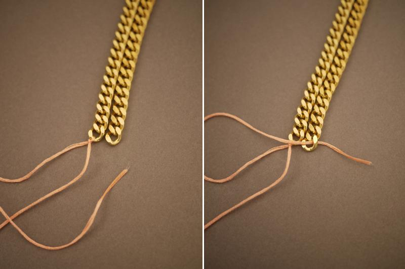 Start by laying two pieces of curb chain side by side. Tie on 4 feet of embroidery floss into a double knot to the end of the left chain, leaving at least a foot of extra slack. Thread the floss through the top of the first link of the right chain.