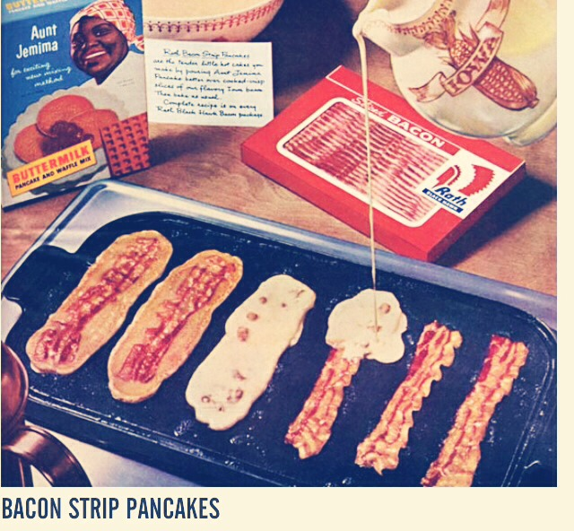 Simply place bacon on pan and pour pancake batter around and over bacon. So freaking good this old school recipe!!